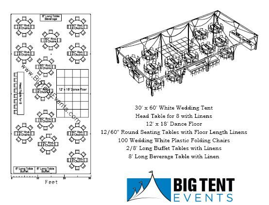 30 X 60 Pole Tent Seating 100 Chart
