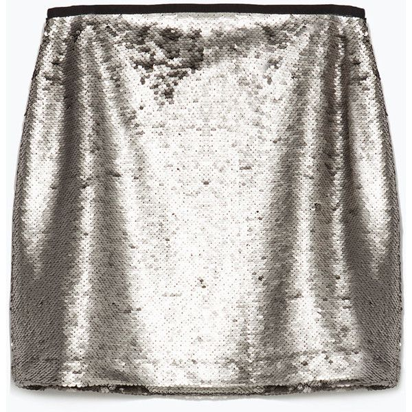 643017f5c1eb Zara Sequinned Miniskirt ($40) ❤ liked on Polyvore featuring skirts, mini  skirts, aged silver, short skirts, white mini skirt, zara skirt, sequin  skirt and ...