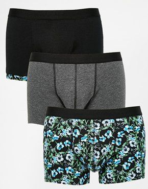 ASOS 3 Pack Trunks With Floral Print