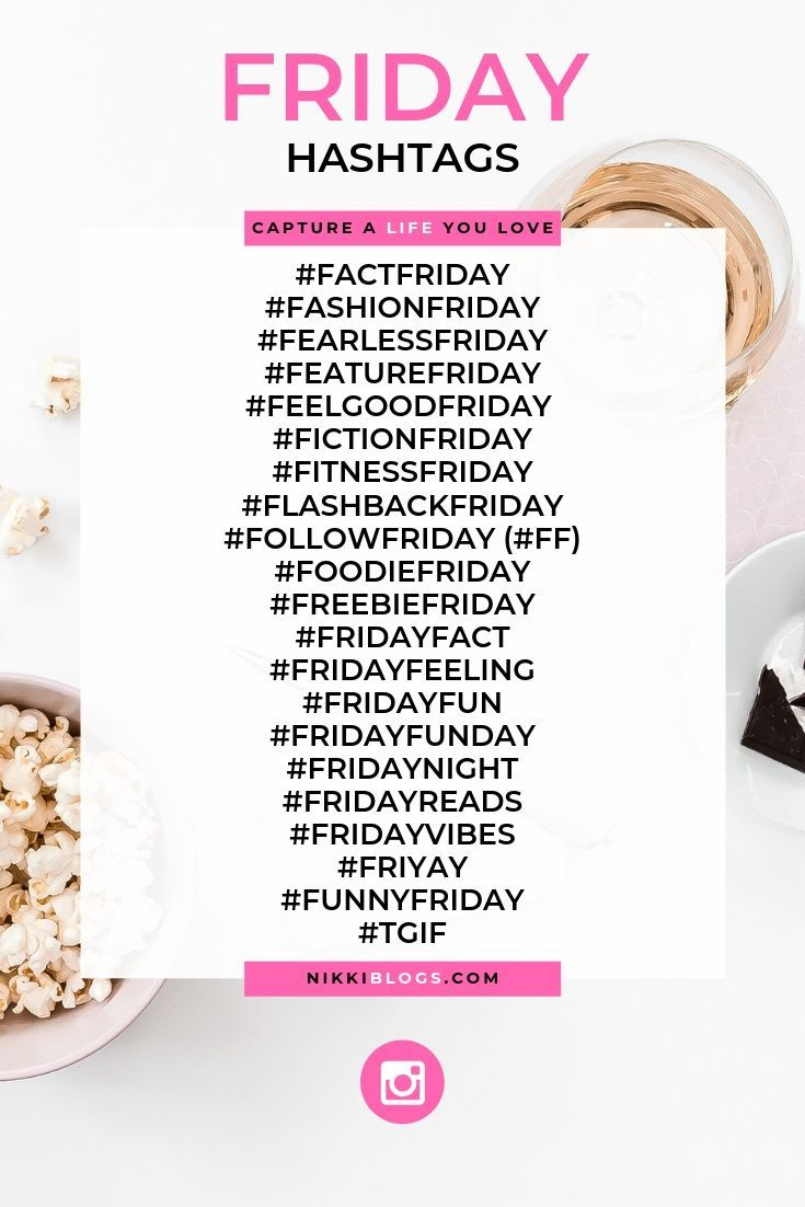 Discover the best hashtags to use this Friday and grow your presence online with social media! See what's popular and choose from creative hashtags that will improve your engagement. Whether you run a business, blog, or work as a social media influencer, you'll find your next post idea right here! Click to see more than 100 hashtags for all seven days of the week and how to use them. Each hashtag includes a definition and description! Let's grow your Instagram, Facebook, or Twitter profile now!