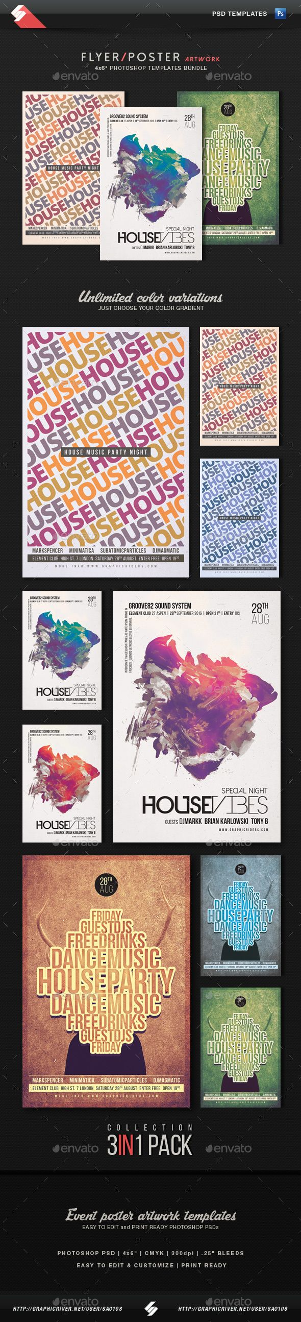 House Music - House Party Flyer Templates Bundle