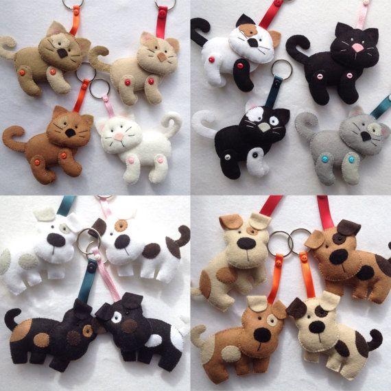Cute Felt Hand Sewn Farm Animal Key Rings,Horse, Dog, Cat, Cow ...