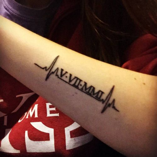 Heartbeat and date in roman numerals forearm tattoos for Birthday date tattoos