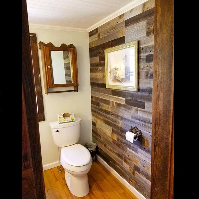 Weekend Renovation Little Spaces Like A Bathroom Wall Are Perfect To Bring A Unique And Homey Touc Reclaimed Barn Wood Wall Wood Panel Walls Wall Paneling Diy