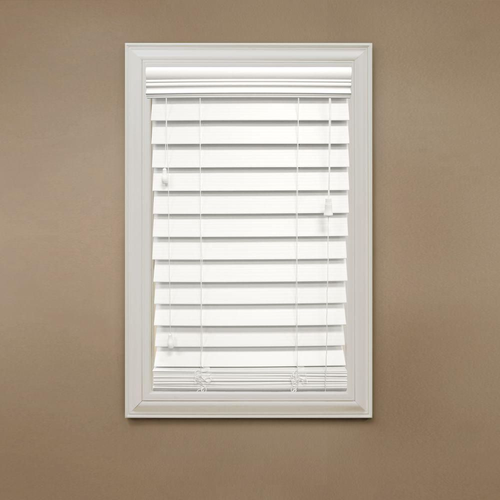 Home Decorators Collection White 2 1 2 In Premium Faux Wood Blind 35 In W X 64 In L Actual Size 34 Premium Faux Wood Blinds Faux Wood Blinds Wood Blinds