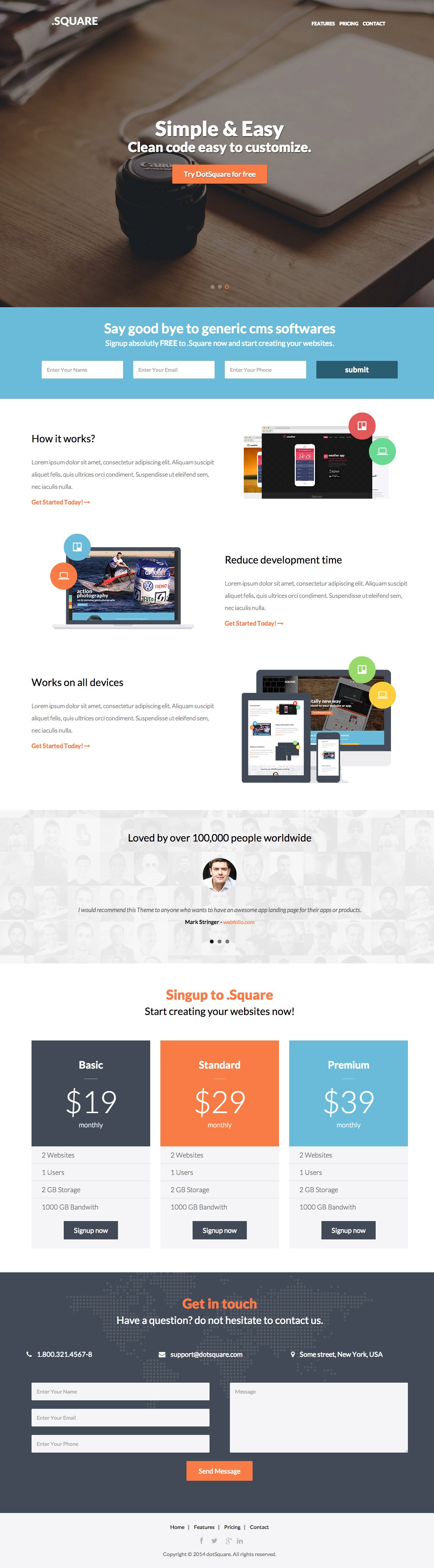 Dotsquare Is Responsive One Page Html Template Featuring A