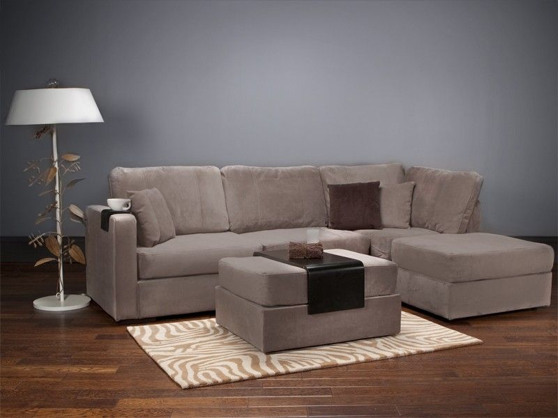 Lovesac - Four Cushion Chaise Sectional and Ottoman with Taupe Rhinoplush Covers : sectional with ottoman and chaise - Sectionals, Sofas & Couches