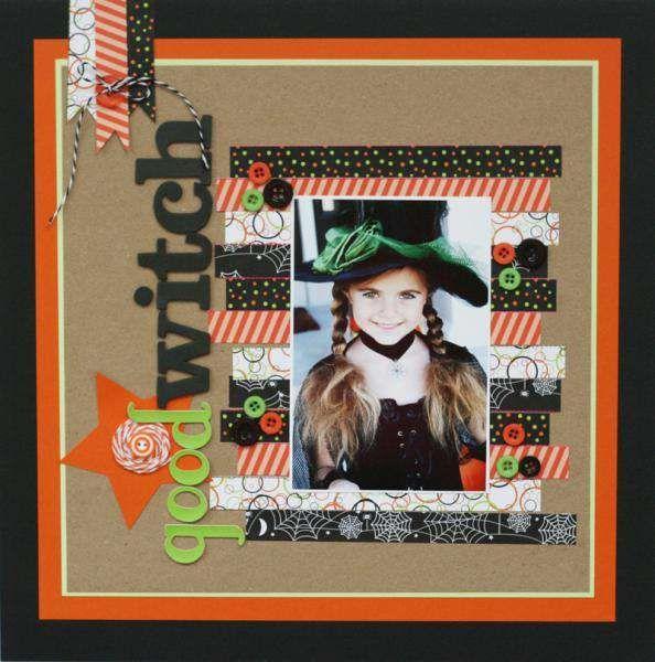 Halloween Scrapbook Layout Featuring Washi Tape Scrapbooking