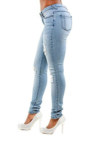 cf69f979e5c Poetic Justice Tall Women s Curvy Fit Blue Stretch Denim Destroyed Skinny  Jeans