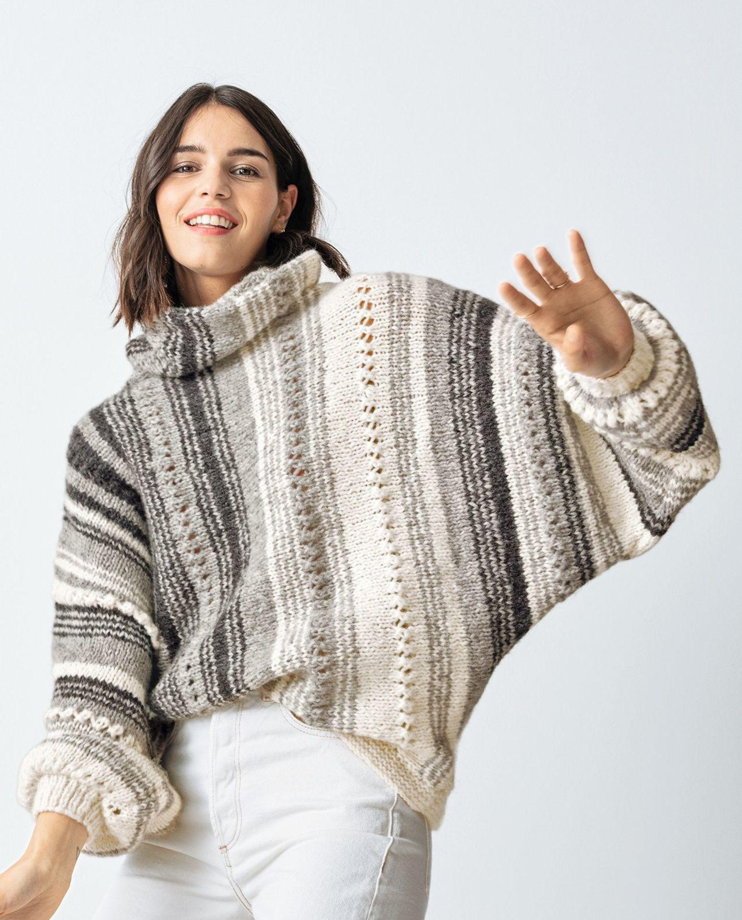 Breipatroon dames vest met vleermuismouwen, gemaakt van Phil