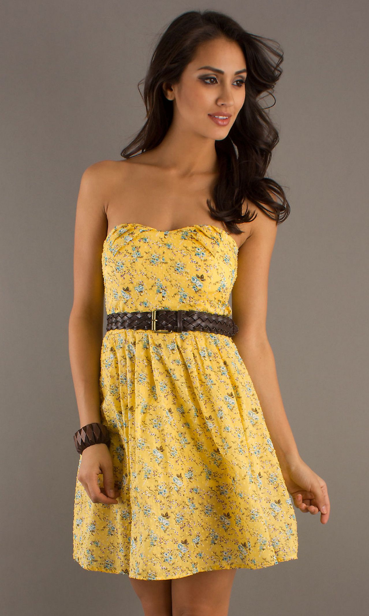 Short Strapless Yellow Summer Dress | Beautiful, Fashion ...