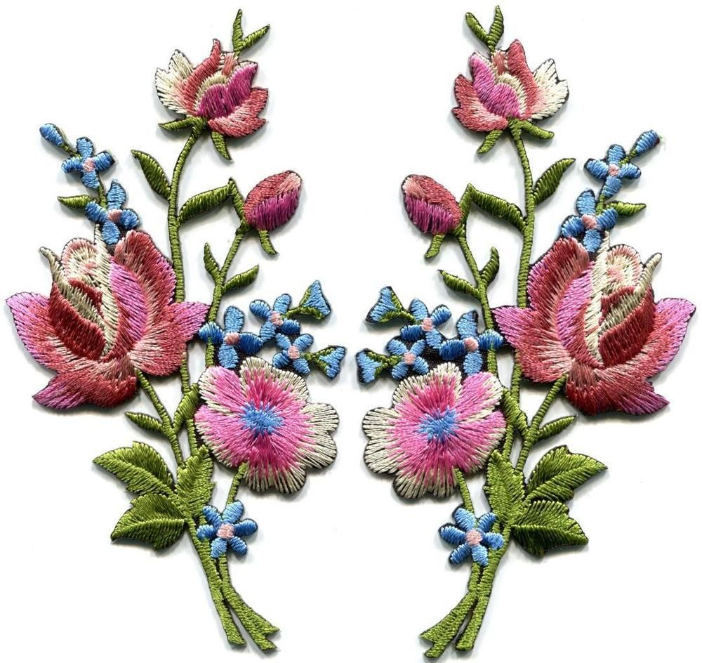 Mauve pink roses pair flowers embroidered appliques iron