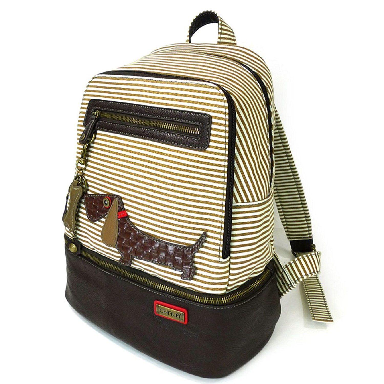 Chala Backpack Style Purse Striped Puppy Dog w detachable Key Chain Fob Charm