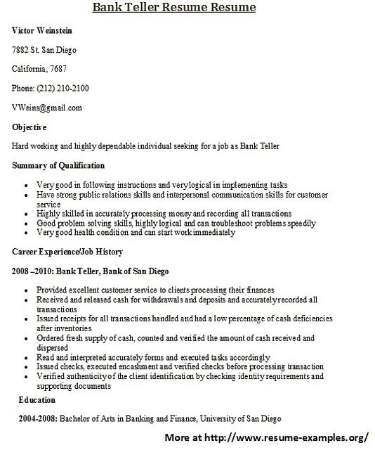For more and various sample banking resumes visit wwwresume - resume example for bank teller