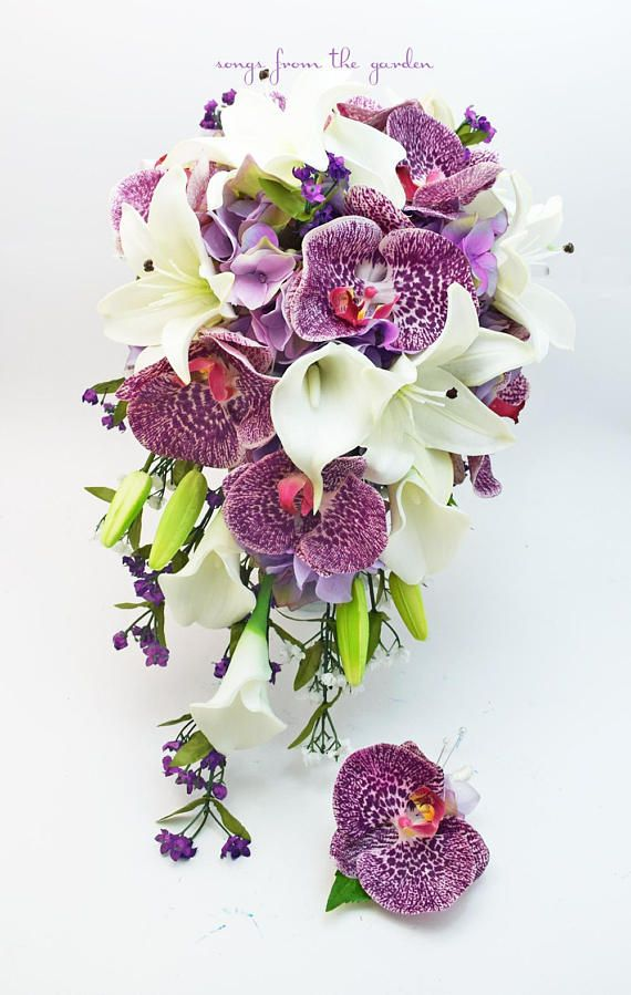 This cascade bouquet of speckled purple Real Touch orchids, Real ...