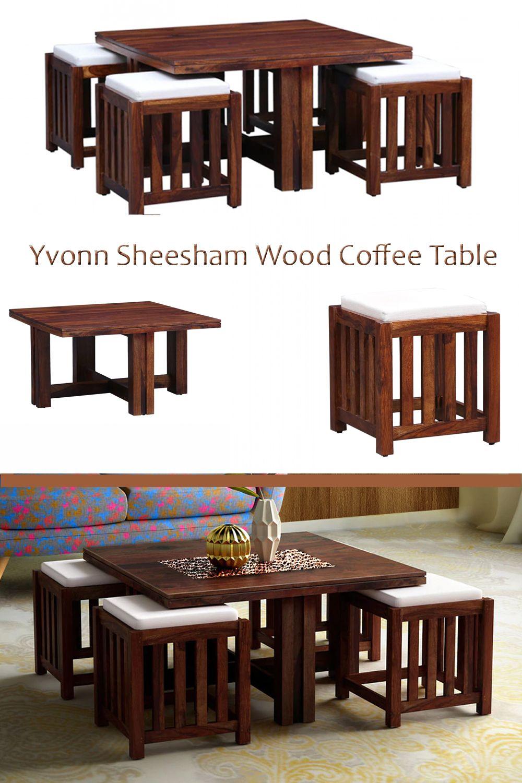 Yvonn Sheesham Wood Coffee Table With 4 Stools Honey Oak Finish Aprodz In 2021 Coffee Table Wood Coffee Table Sheesham Wood [ 1500 x 1000 Pixel ]
