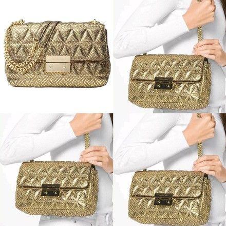 c5c8791aa717a5 Michael Kors Metallic Sloan Chain Gold Leather Shoulder Bag - Tradesy