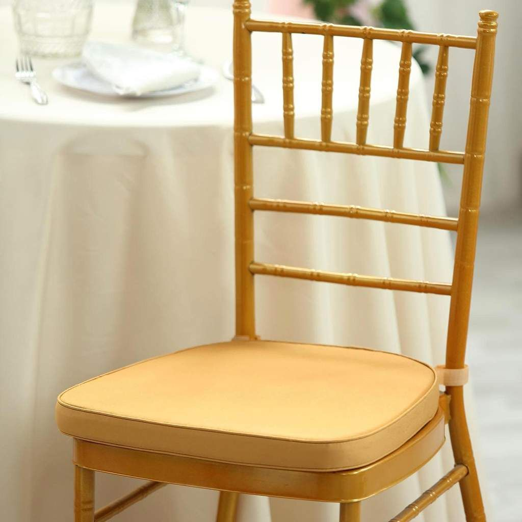 2 Thick Gold Chair Cushion Pad Padded Seat Cushion With Fabric Straps And Removable Cover In 2020 Chiavari Chairs Wedding Chair Covers Wedding Chiavari Chairs