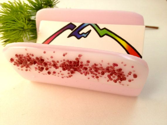 Fused Glass Pink and White Business Card by Mtbaldyglassworks, $22.00