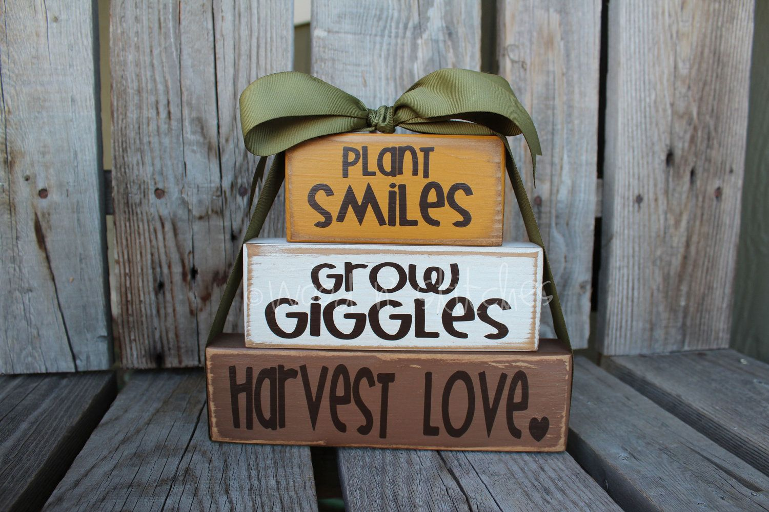 Primitive fall wood crafts - Primitive Autumn Fall Grow Giggles Plant Smiles Harvest Love Wood Block Set Fall Autumn Pumpkin Home