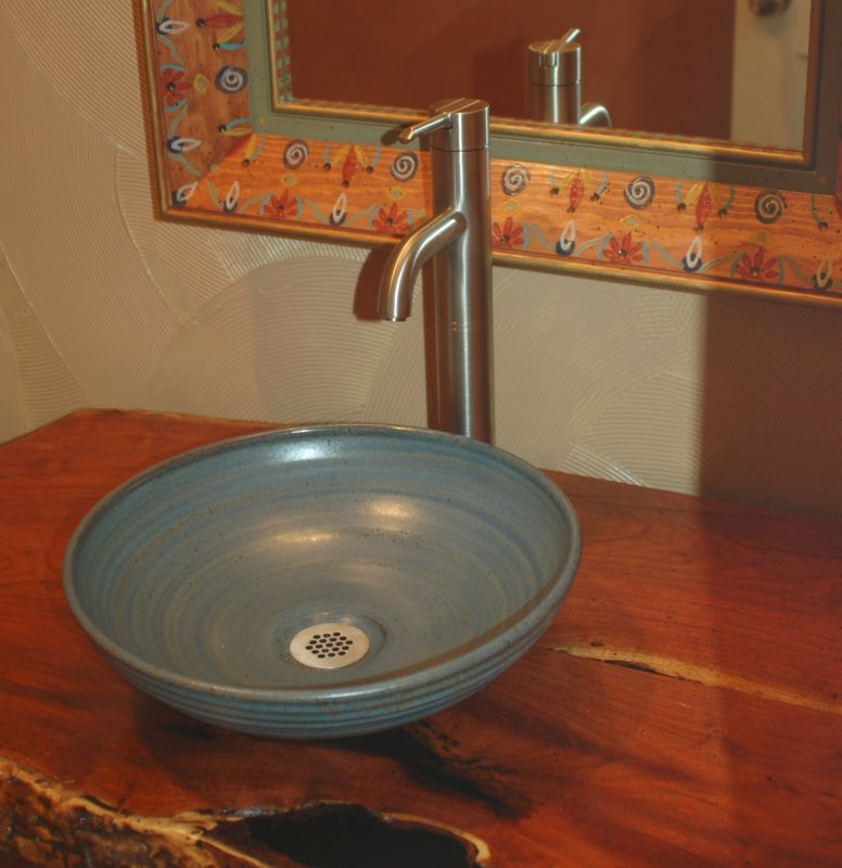 Pottery sinks hand made sink artist made sink for Bowl sinks for bathrooms with vanity