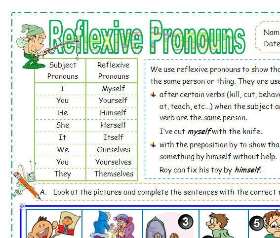 Reflexive Pronouns Reflexive Pronoun Reflexive Pronouns Worksheet Reflexive Pronouns Activities