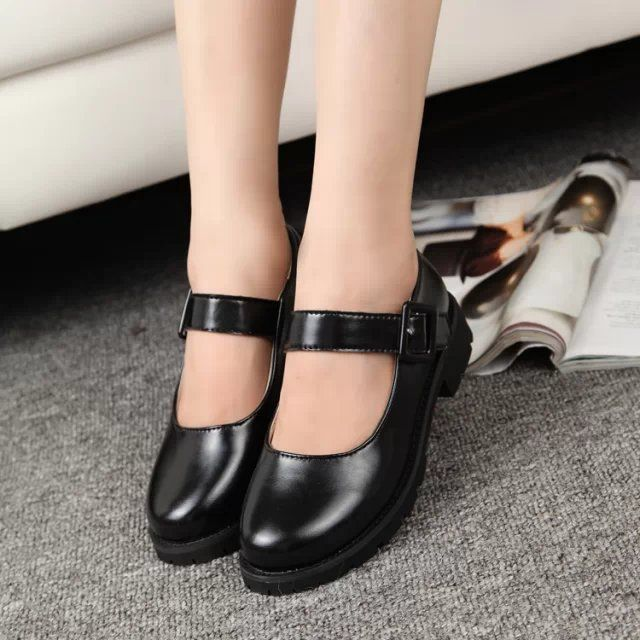 bf33cd541e6 Cute Women s Lolita Maid Round Toe Shoes Japanese School Uniform Uwabaki  Flat Mary Janes New Cosplay Flat Shoes Black Wine