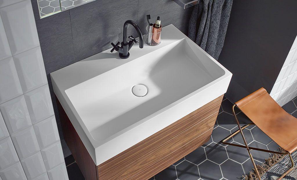 Crono minimalist rectangular washbasin by burgbad designed by