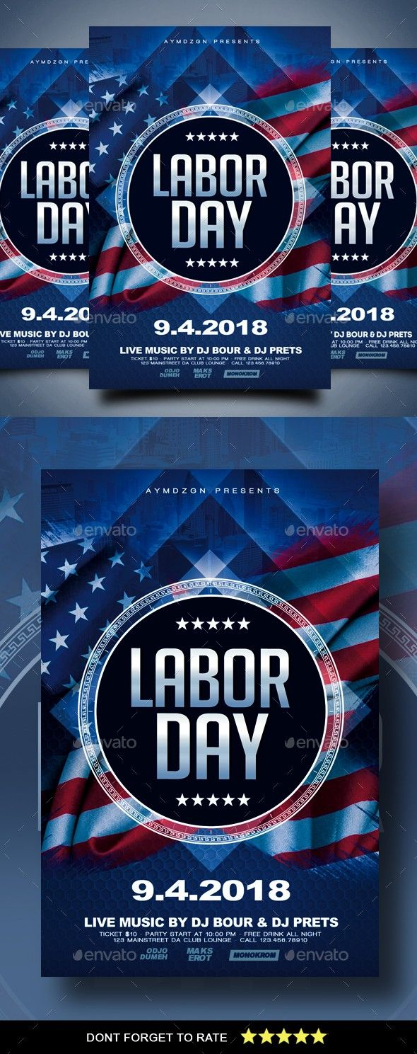 Labor Day Flyer | Flyer template, Event flyers and Party flyer