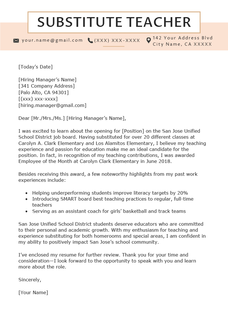 Substitute Teacher Cover Letter Example & Writing Tips ...