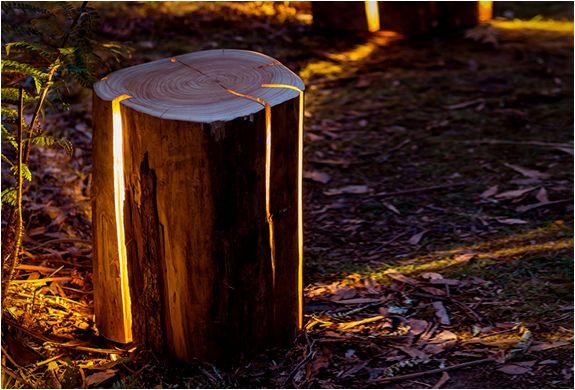 Cracked Log Lamps Tree Stump Backyard Lighting Lamp Design