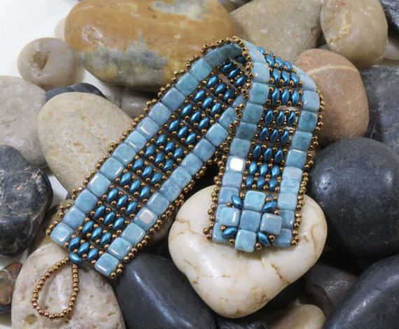 Super Duo Czechmate Tile Bracelet Turquoise by CinfulBeadCreations