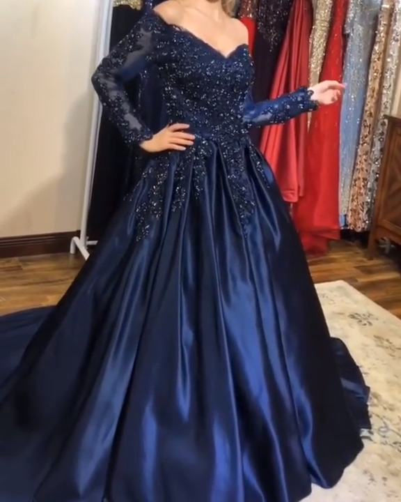 Ball Gown Off The Shoulder Satin Sweep Train Beading Prom Dresses Video Video Prom Dresses Long With Sleeves Navy Prom Dresses Prom Dresses