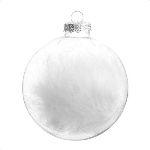 Boule de Noël en verre blanche 8 cm LIDO