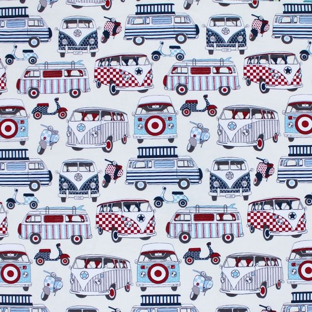Campervan fabric Red and blue, Fabric, Fabric design
