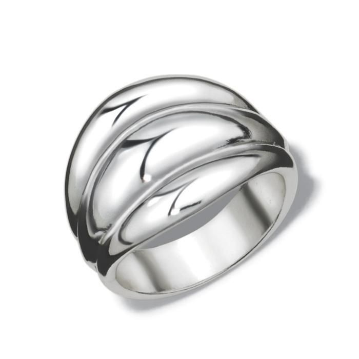 Give classic silhouettes an upgrade. Silvertone oval shaped ring with ridges that gives the illusion of being 3 separate rings. Imported.