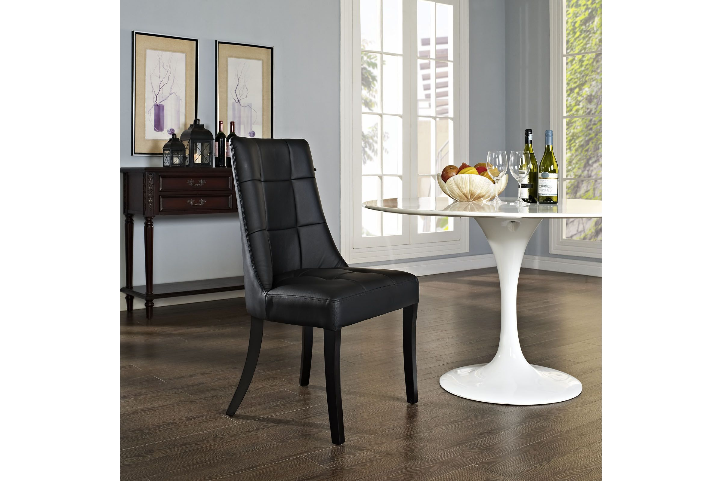 Noblesse Dining Vinyl Side Chair In Black By Modway In 2020
