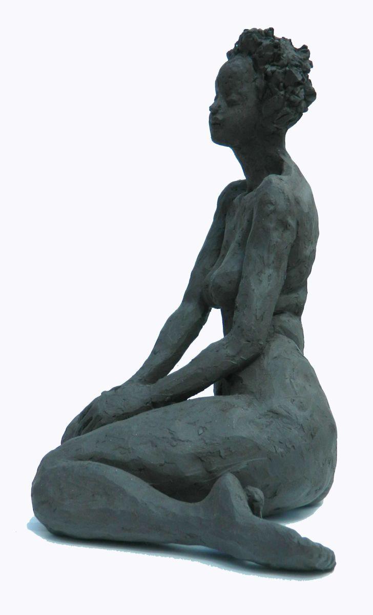 Cécile 1 - Sculpture,  23x35x25 cm ©2014 by Mireille Lauf-Marquis -                                                        Figurative Art, Ceramic, Nude