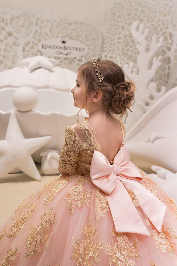 Blush Pink and Gold Flower Girl Dress - Birthday Wedding Party Holiday  Bridesmaid Flower Girl Blush c1865cfe746a