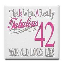 42nd Birthday Gifts Tile Coaster | September babes | Happy 42nd