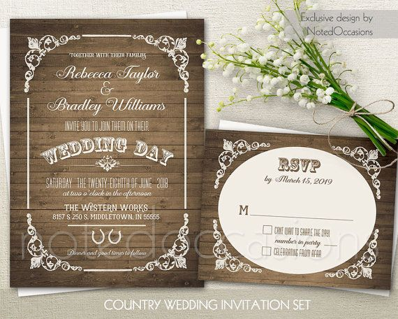 Western Wedding Invitation  Country Wedding by NotedOccasions. This country western wedding set features a vintage countryw estern appeal with flourishes in the corners and modern western typography all on a barn wood background. This design is perfect for weddings in Spring, Summer fall or winter in rusitc country chic and western venues.