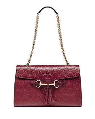 3288576bc987b5 Emily Guccissima Leather Chain Shoulder Bag Dark Red | Bag Heaven ...