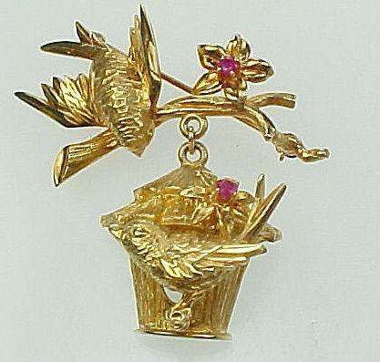 Vintage 14k Gold and Diamond Signed Handcrafted Chick Bird Brooch Pin|Gift Boxed