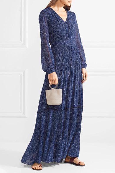 Pintucked Printed Chiffon Maxi Dress - Blue Michael Kors T2xUdgSM