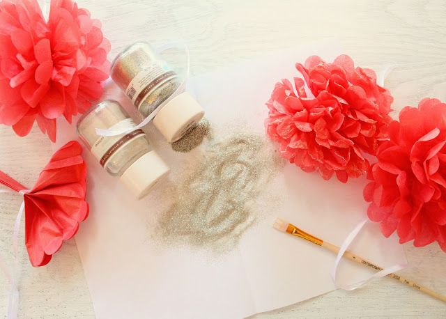 Icing Designs: DIY hand-glittered mini paper pom fairy flower wands