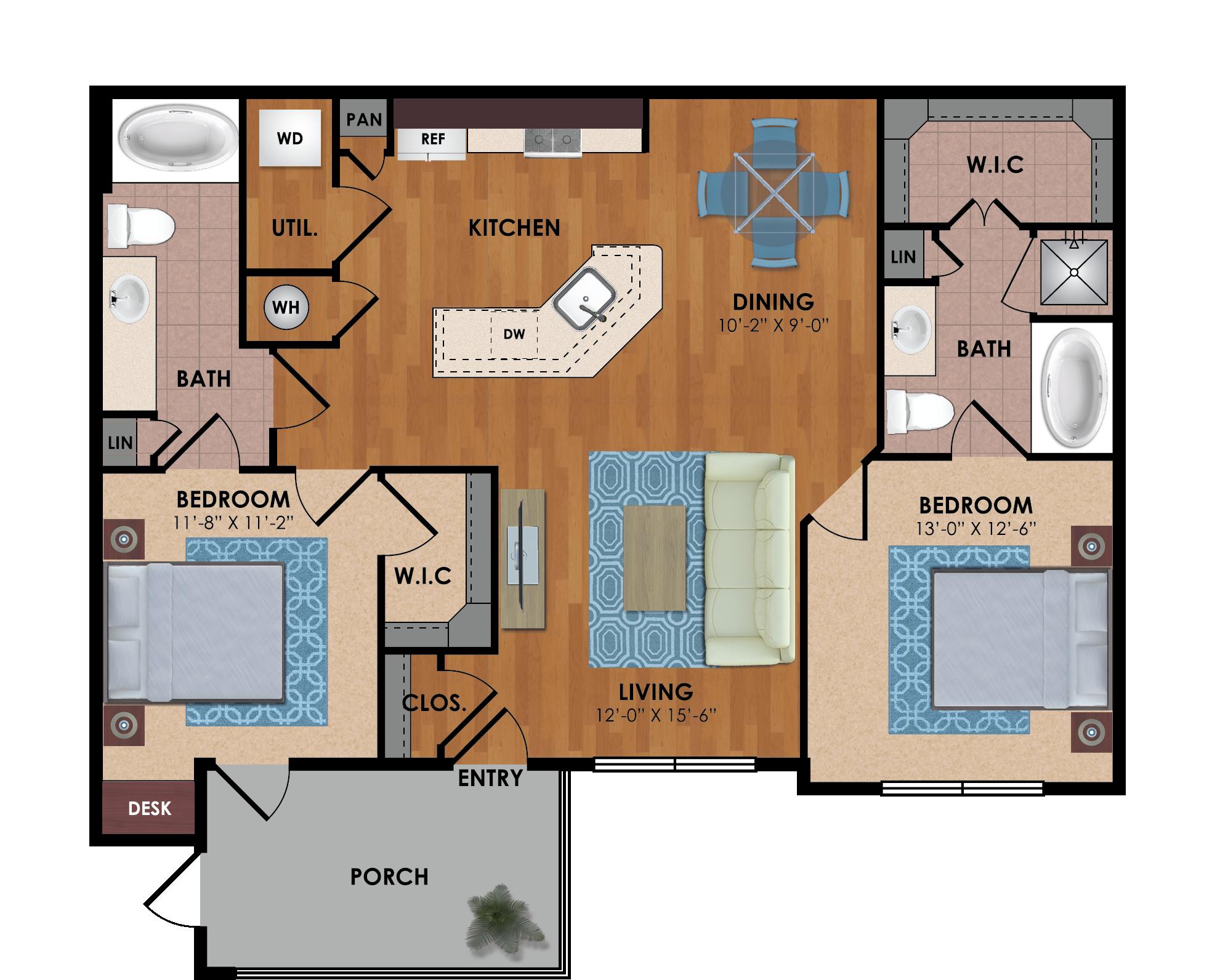 Cedar 2 Bedroom 2 Bath Floor Plan Floor Plans Luxury Apartments Contemporary Apartment