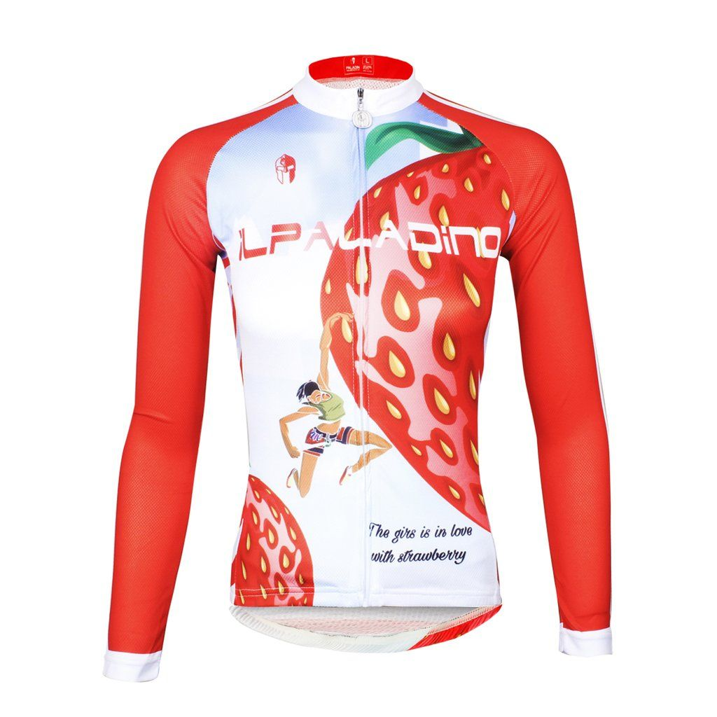 ILPALADINO Fruit Food Strawberry Red Women s Long Sleeves Cycling Jersey  Spring Autumn Summer Outdoor Sports Gear Leisure Biking T-shirt NO.735 cbaac03db