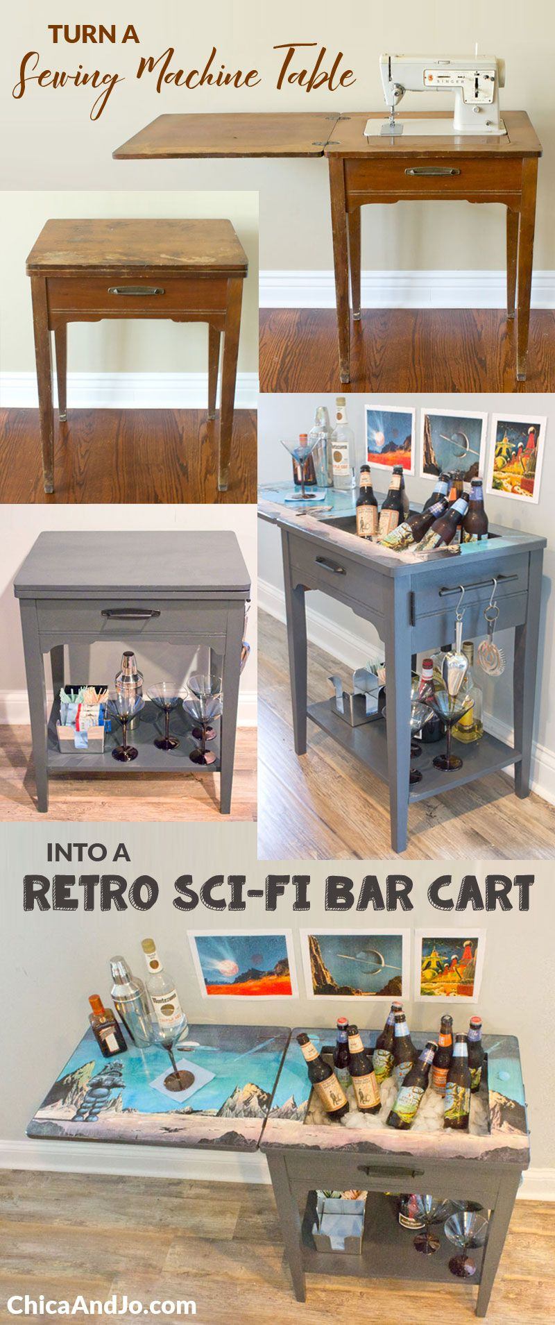 Turn A Sewing Table Into Bar Cart
