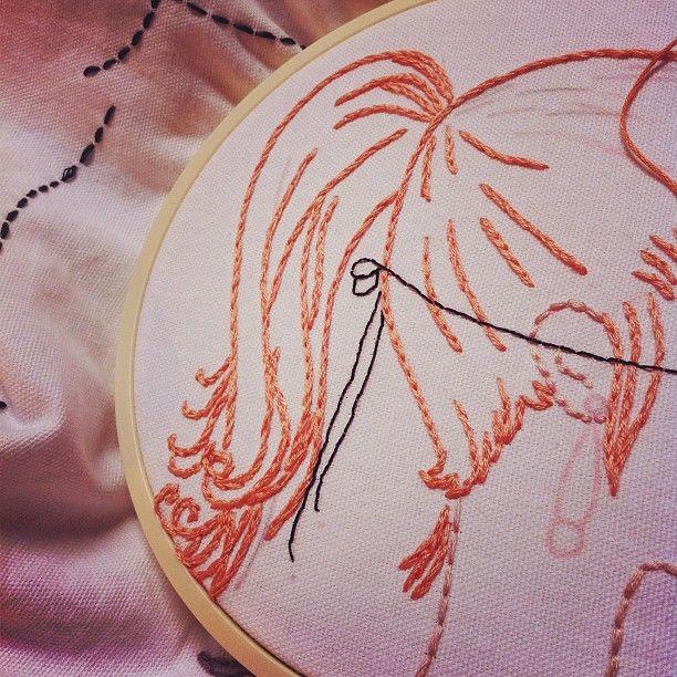 Shy Girl's Ponytail (split stitch)