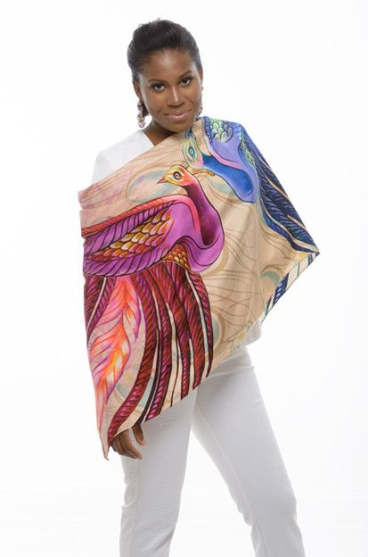Heads will be turning to see you wearing this gorgeous luxury silk scarf. As inspired by West Indian culture, this accessory will add the perfect touch of elegance with its portrayal of a beautiful love dance performed by two peacocks. This hand rolled hem and digital print design was made in Italy and produced on lightweight silk twill. It truly is a piece of beauty that will turn any average outfit into a dreamy one. #vevellefashion #vevellescarfie #vevelle #scarfie #Haiti #Haitian